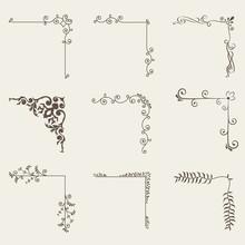 Vector Illustration Of Decorative Corner Frame Set