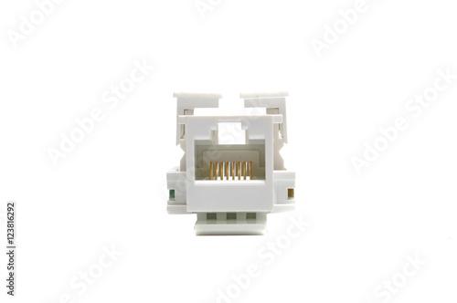 Fotografia, Obraz  Modular jack or keystone jack isolated on white background