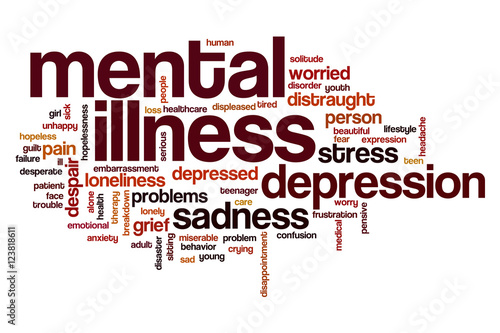 Fotografie, Obraz  Mental illness word cloud