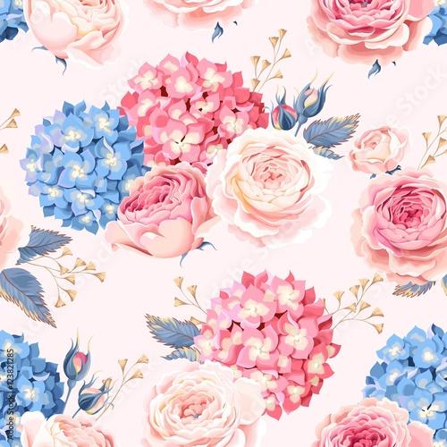 Cotton fabric Seamless rose and hydrangea