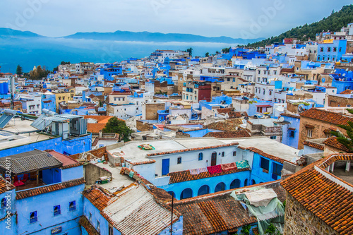 Spoed Foto op Canvas Marokko A view of the blue city of Chefchaouen in the Rif mountains, Morocco
