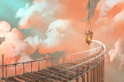 rope bridge leading to the hanging lantern in a clouds,illustration painting