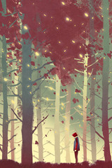 Fototapeta Relaks i kontemplacja man standing in beautiful forest with falling leaves,illustration painting
