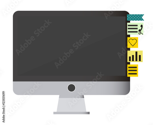 COMPUTER ISOLATED WITH STICKY NOTES IN DIFFERENT FORMATS AND COLOURS