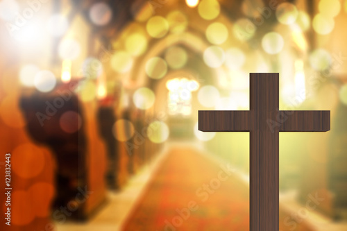Vászonkép 3D rendering of wooden cross in blurred church interior