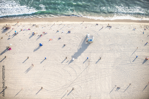 Poster Los Angeles Santa Monica beach, view from helicopter