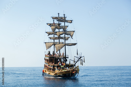 pirate ship with tourists on the sea