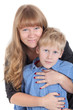 Smiling mother hugging her son, portrait on a white background isolated