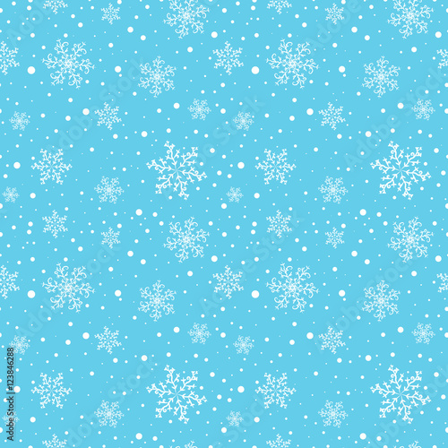 Cotton fabric Seamless winter pattern with white snowflakes on light blue background. Vector illustration.