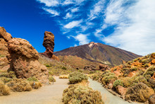 Roques De Garcia Stone And Teide Mountain Volcano At The Sunny Morning In The Teide National Park, Tenerife, Canary Islands, Spain.