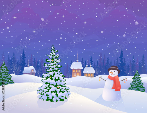 Tuinposter Purper Winter village and snowman