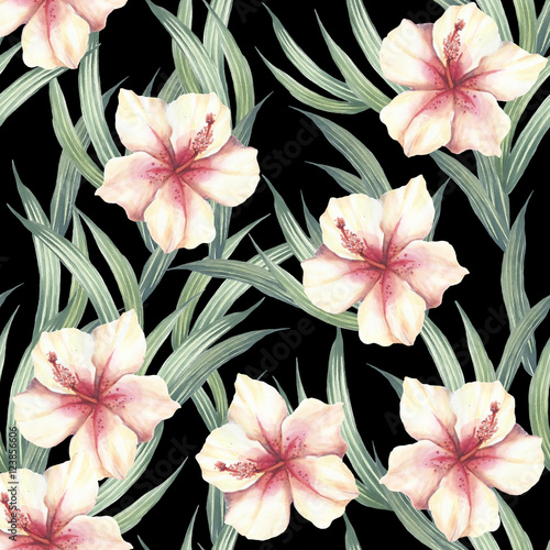 Seamless pattern with tropical flowers and leaves. Watercolor illustration. - 123856606