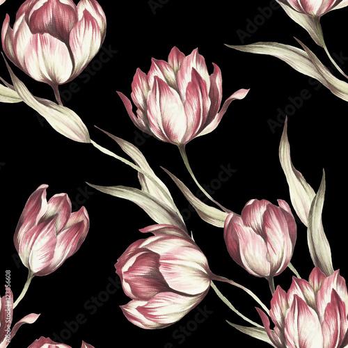 bezszwowy-wzor-z-tulipanami-reka-narysowac-akwarela-ilustracja