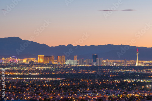 Spoed Foto op Canvas Las Vegas Aerial view of Las Vegas strip