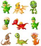 Fototapeta Dinusie - Set of cartoon dinosaurs collections