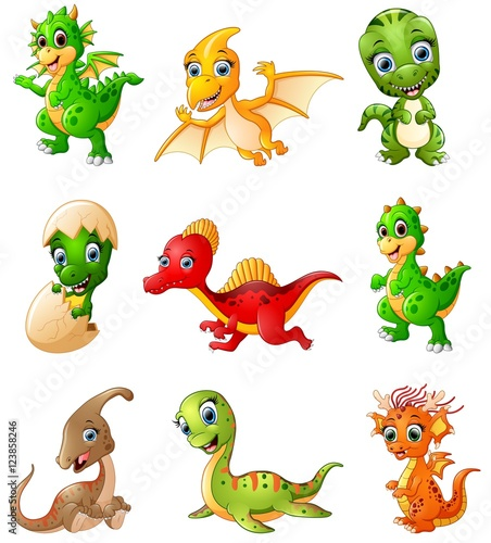 Photo  Set of cartoon dinosaurs collections