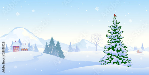 Poster Bleu clair Winter morning background