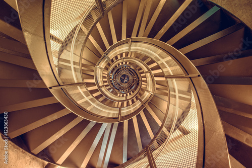 Fototapeta Spiral staircase in tower - interior architecture of building