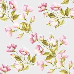 Naklejka Florystyczny Seamless pattern with flowers of wild rose. Watercolor illustration.
