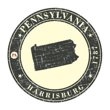 Vintage Stamp With Map Of Pennsylvania