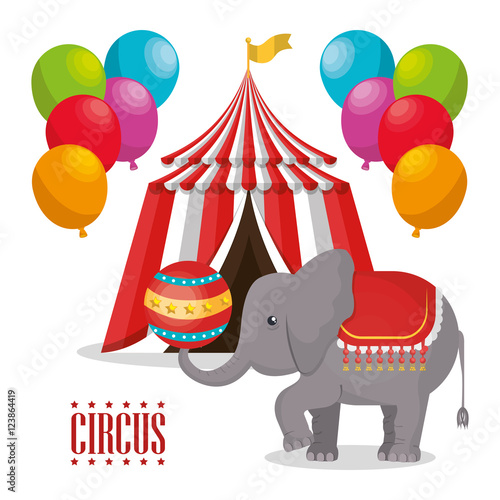 Red And White Striped Tent Circus With Balloons And Elephant Show