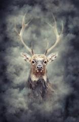 Panel Szklany Współczesny Deer in smoke
