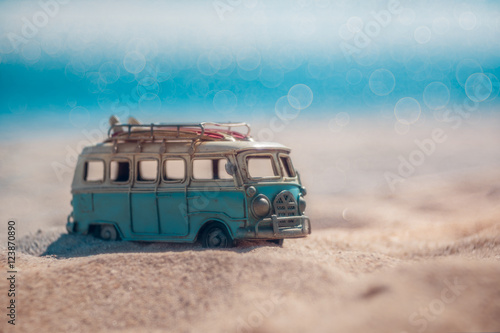 Poster Retro Vintage miniature van in vintage color tone, travel concept
