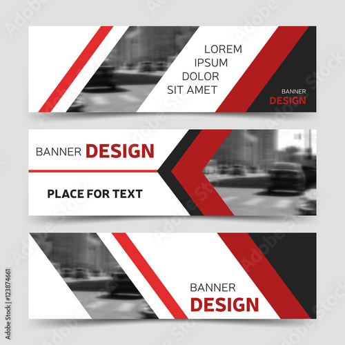 Set of red horizontal business banner templates modern background set of red horizontal business banner templates modern background layout fbccfo