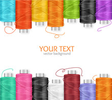 Thread Spool Banner. Vector