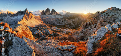 Dolomites mountain panorama in Italy at sunset - Tre Cime di Lav Canvas Print