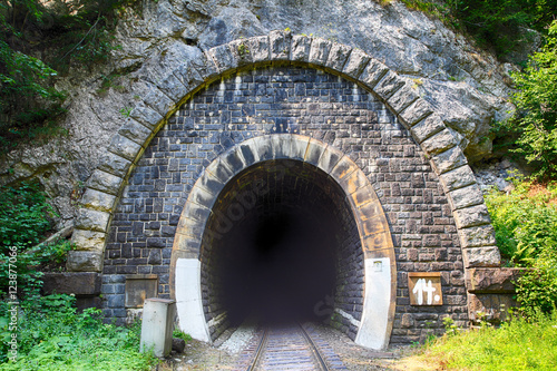 Papiers peints Tunnel Train tunnel with railway - old