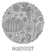 Autumn Background With Creative Vegetables And Flowers, Decorative Floral Background, Round Shape, Vector Illustration