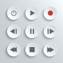 Media Player Control Ui Icon Set- Vector White Round Buttons