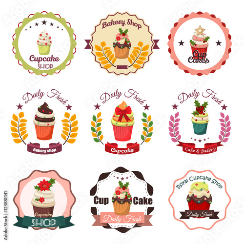 Tuinposter Vintage Poster Collection of vintage retro bakery badges and labels