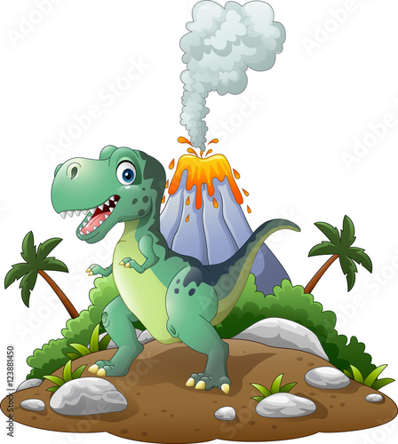 Canvas Prints Dinosaurs Cartoon happy dinosaur in the prehistoric background