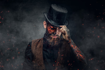 A man with burning face and...