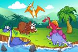 Fototapeta Dino - Dinosaur in a wild