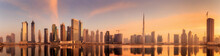Panoramic View Of Business Bay And Downtown Area Of Dubai, Reflection In A River, UAE