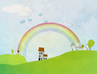 Beautiful summer landscape with rainbow.