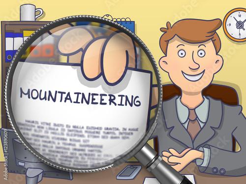 Foto op Plexiglas Alpinisme Mountaineering through Magnifying Glass. Doodle Style.