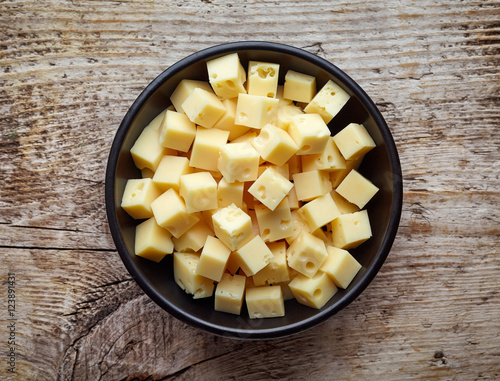 Bowl of diced cheese squares from above
