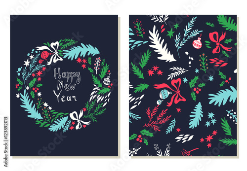happy new year card hand drawn illustration with christmas wreath vector background with floral