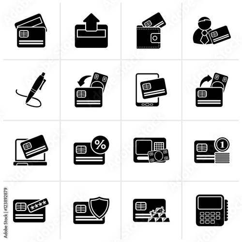Fototapety, obrazy: Black credit card, POS terminal and ATM icons - vector icon set