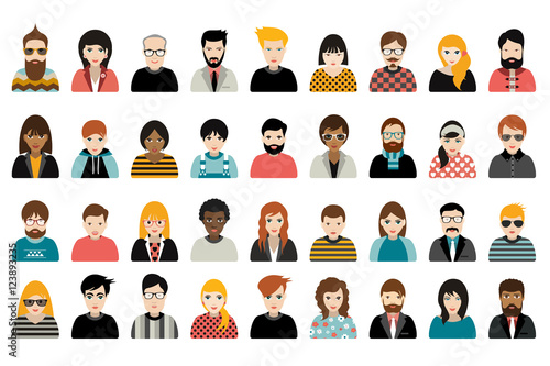 Obraz na plátne Mega set of persons, avatars, people heads  different nationality in flat style