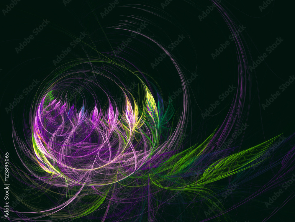 Computer fractal illustration of flowers in a semicircular vase on a dark green background