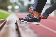 Close-up Of Running Shoe, Getting Ready For Jogging