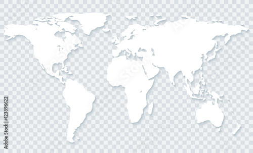 Leinwand Poster World map on transparent background