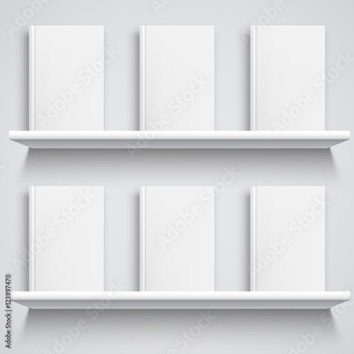 Bookshelf and Books with Blank Covers Wallpaper Mural