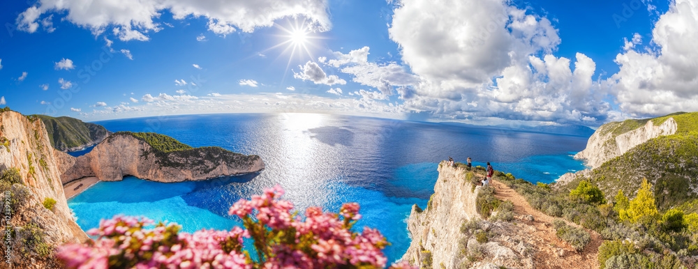 Fototapeta Navagio beach with shipwreck and flowers on Zakynthos island in Greece