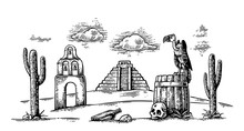 Mexican Desert Landscape With Griffin On Barrel, Cactus, Cloud, Church